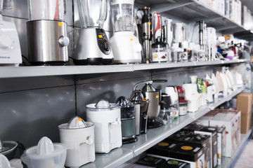 Kitchen appliances blenders and juicers at household shop