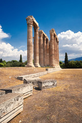 Temple of Zeus in central Athens, Greece on a bright day