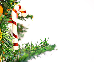 Beautiful Christmas decorations on pine tree - Christmas Holiday background. Happy New Year and Xmas theme - Image