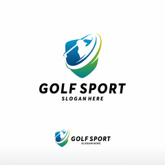 Modern Golf Sport logo designs concept vector, Gold Club logo with shield