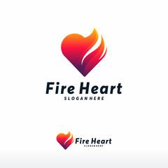 Fire Heart Logo designs concept vector, Love Fire logo symbol icon