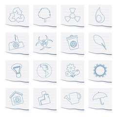 Ecology and Recycling icons on a piece of paper - Vector Icon Set