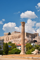 Temple of Zeus with Acropolis on the background in Athens, Greece