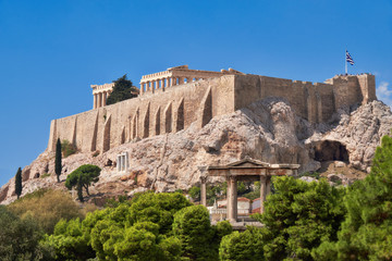 Wall Mural - Acropolis hill with ancient temples in Athens, Greece
