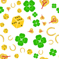 Seamless vector pattern on white background with symbols of good luck