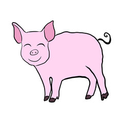 Pink pig 2019 year vector