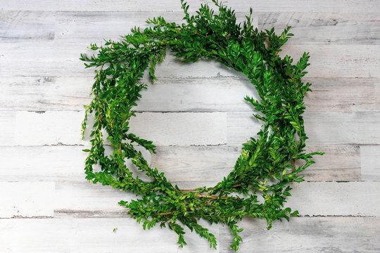 Boxwood wreath on white shiplap board background