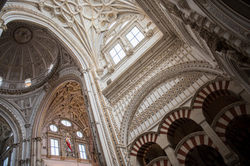 Beautiful architecture of the famous Cathedral of Cordoba. It is one of the most famous historical mosques in Spain and boasts of the finest architectural beauty.