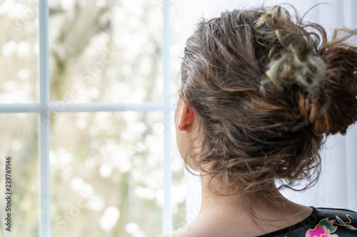Closeup Portrait Of Female Caucasian Person Back Young Woman