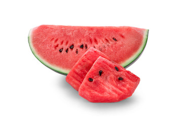 Sliced of watermelon isolated on white background. - Image