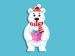 Vector Cartoon Cute Polar Bear Sticker. Merry Christmas and happy new year. decorative element on holiday. Greeting card design, posters, gift tags and labels.