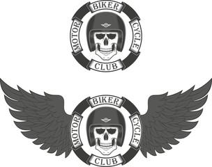 Skull biker in helmet helmet and banner with text and wings. Biker club.