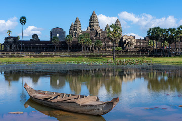water reflection of Angkor Wat in Cambodia
