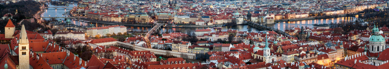 Panorama of Prague,  River Vltava.