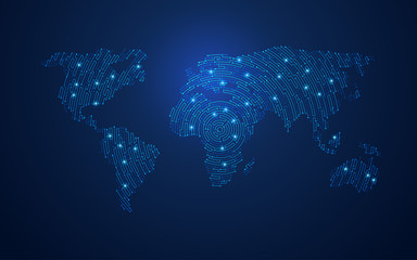 concept of global network or digital technology communication, graphic of world map combined with electronic board pattern