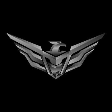 Metallic Eagle Head tactical triangle gear vector logo design illustration template
