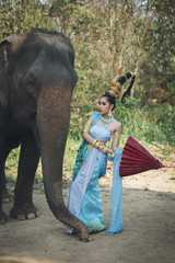 Thai Woman In Traditional Costume
