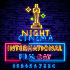 Movie award neon light icon. Oscar academy award Icon in Neon Style Vector Illustration, first place prize, man of the year reward, best person, best person statue