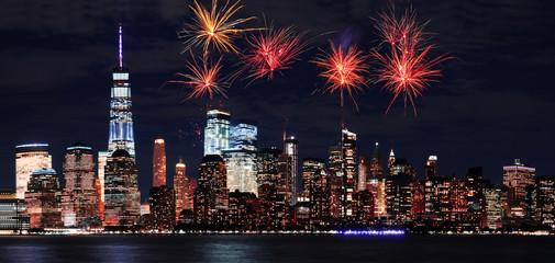 Firework over Manhattan in New York city at night