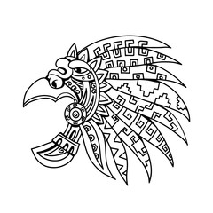 Drawing sketch style illustration of an Aztec feathered headdress, a flamboyant and colourful costume piece worn by Aztec nobility, elite and priests viewed from side on isolated white background in b