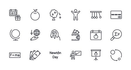 Newton's Day Set Line Vector Icon. Contains such Icons as Newton, Laws of physics and gravity, Flying Apple, Calendar, Teacher, blackboard and projector Editable Stroke. 32x32 Pixel Perfect