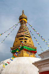 Swayambhunath Stupa located on the top of the hill and overlooking the city of Kathmandu in Nepal.