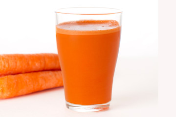 Carrot Juice and Carrots Isolated on White