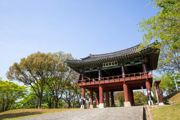 It is Jinjuseong Fortress which is a famous tourist attraction in Korea.