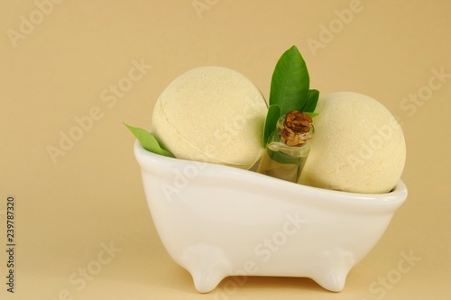 Essential lemon oil and bombs for a bath with lemon extract