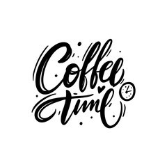 Coffee time hand drawn lettering isolated on ackground. Vector Illustration.