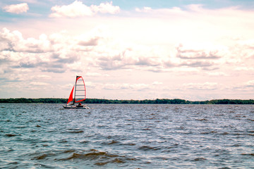 Boat sailing in the lake