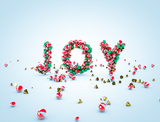 3d rendering. JOY letters with geometric elements. Christmas background.