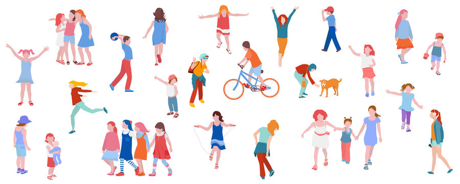 Set of illustrations of kids activity. Children play, chat, walk, run, vector illustration in flat style.