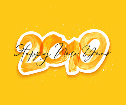 Yellow watercolor Happy New Year brush lettering text. Merry Christmas calligraphy inscription vector illustration.