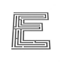3d render maze alphabet letter