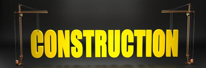Construction site symbolized as cranes holiding a big construction logo, 3d illustration