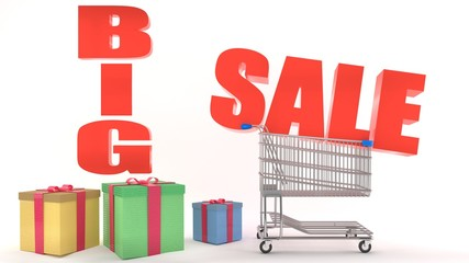 Big sale red promotion logo sign, shopping cart with gifts and presents