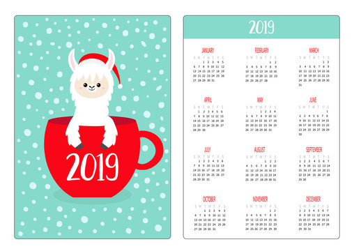 Cute llama alpaca. Coffee tea cup. Santa hat. Pocket calendar layout 2019 new year. Vertical orientation. Week starts Sunday. Cartoon kawaii funny baby character. Flat design. Blue snow background.