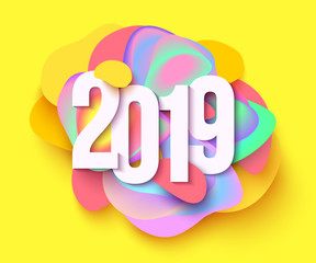 2019 colorful holiday background. Cut paper style. Vector illustration