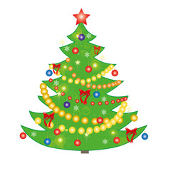 Vector illustration of a Christmas tree on a white background