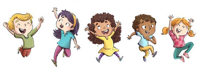 niño y niñas saltando