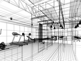 abstract sketch design of interior fitness room ,3d rendering