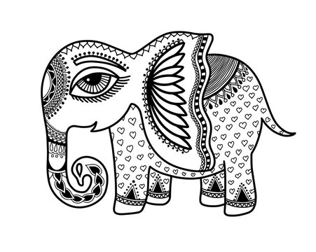 drawing of little baby elephant in indian henna style
