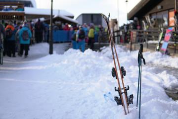 Alpine skis and Snowboards at snow ski resort vacation travel