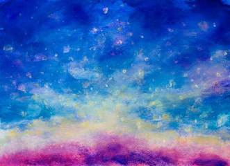 Blue oil abstract hand painted watercolor background illustration on paper artwork