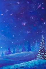 Night blue Winter landscape painting drawing artwork with snow christmas tree pine in forest wood oil painting illustration holiday background art