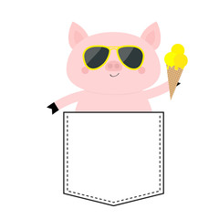 Pig face head in the pocket. Glasses, icecream. Cute cartoon animals. Piggy piglet character. Dash line. White and black color. T-shirt design. Baby background. Isolated. Flat design.