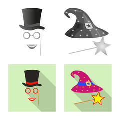 Isolated object of party and birthday icon. Collection of party and celebration stock symbol for web.