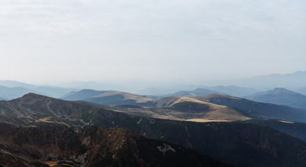 Scenic landscapes in a European country. Climbing the mountain top