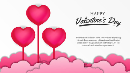 Happy Valentine's day banner poster template with 3D pink hearth. Vector illustrator